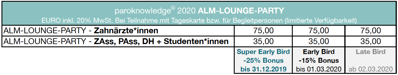 paroknowledge 2020 - Tickets ALM-LOUNGE-PARTY